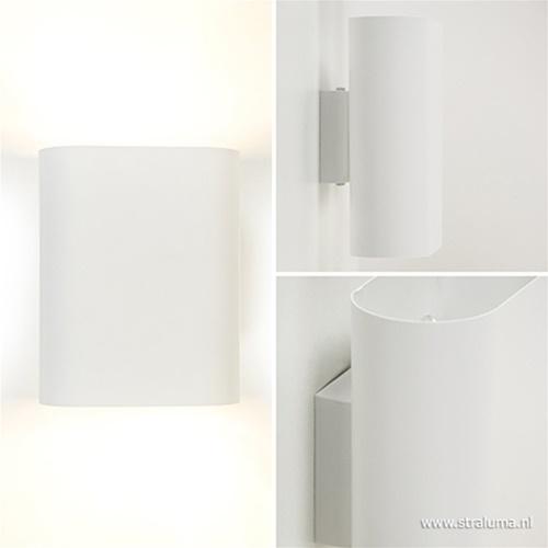 Wandlamp ovaal wit 2xe14