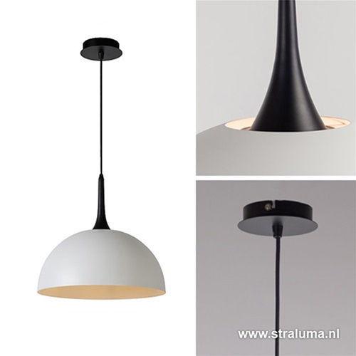 Grote koepellamp-hanglamp wit/zwart