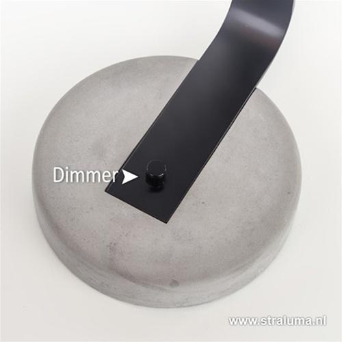 Betonnen tafellamp met zwart en dimmer