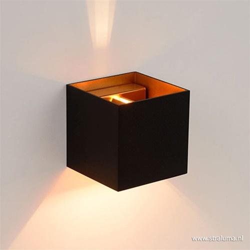 Wandlamp Xio kubus zwart/goud inclusief G9