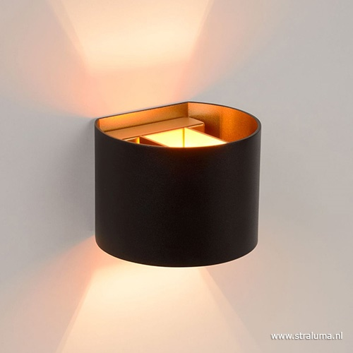 Wandlamp zwart/goud Xio up+down rond