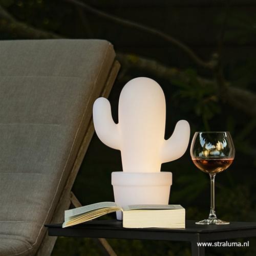 Draadloze LED tafellamp cactus wit
