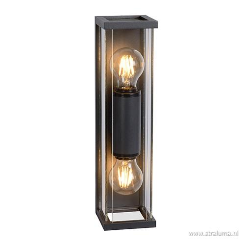 Buitenlamp 2L lantaarn antraciet IP54