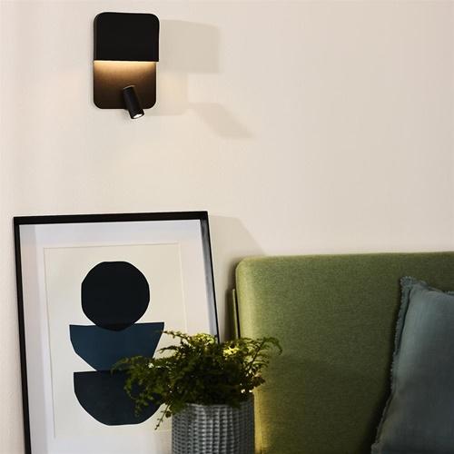Wandlamp zwart + leesspot en usb