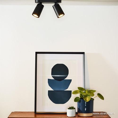 2-Lichts LED opbouwspot zwart dim to warm