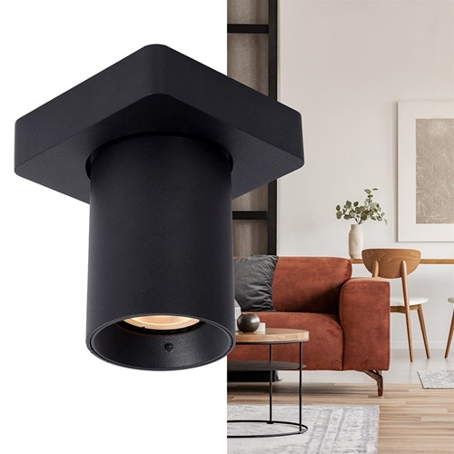 Plafondspot enkel tube zwart dim-to-warm