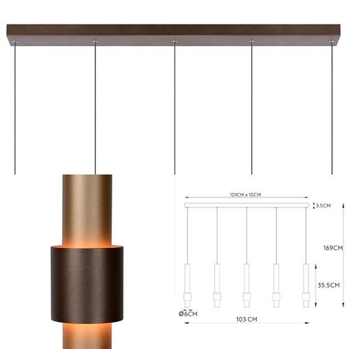 Landelijke 5-lichts LED hanglamp cilinders bruin
