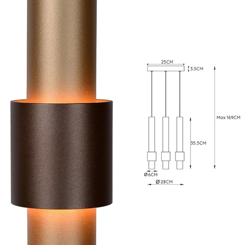 3-Lichts hanglamp LED cilinders bruin rond