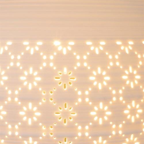 Ronde tafellamp porselein met dessin mat wit