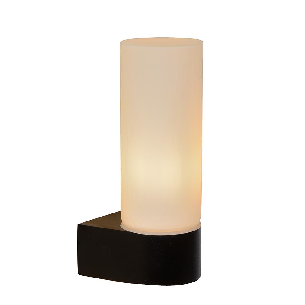 Moderne wandlamp zwart met opaal glas IP44