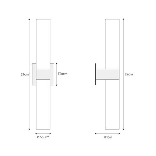 Cilinder badkamerlamp zwart met opaal glas IP44