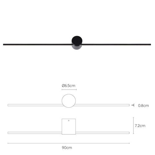 Design wandlamp badkamer LED zwart 90 cm