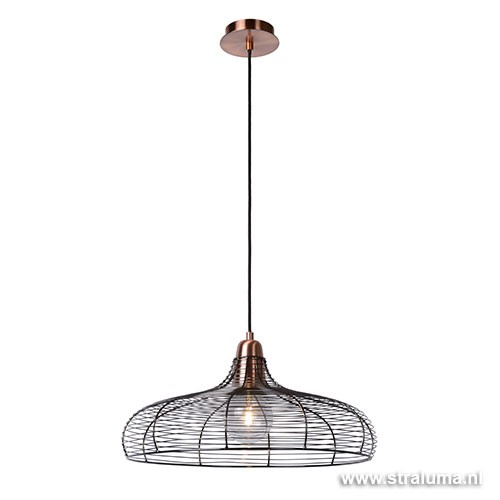 Koperen hanglamp Moino draad woonkamer | Straluma