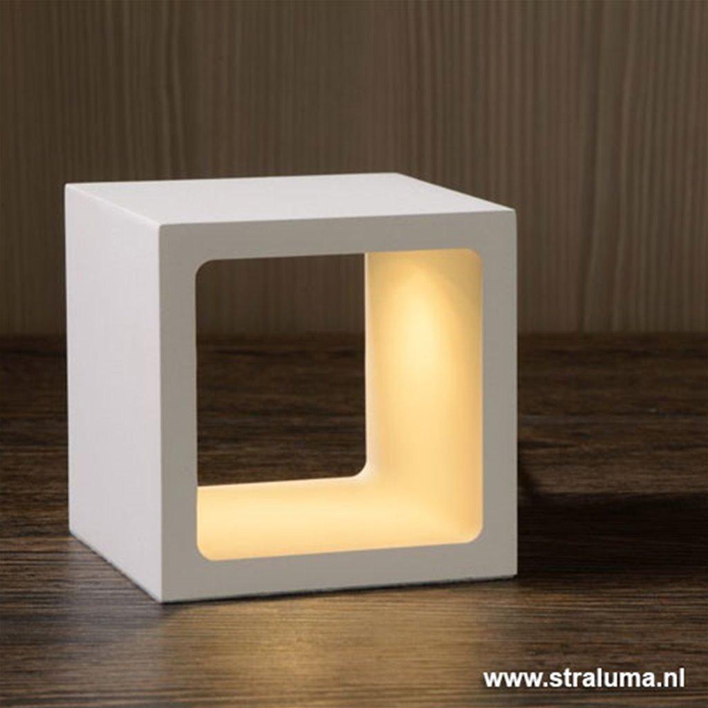 **Witte tafellamp Xio kubus LED design