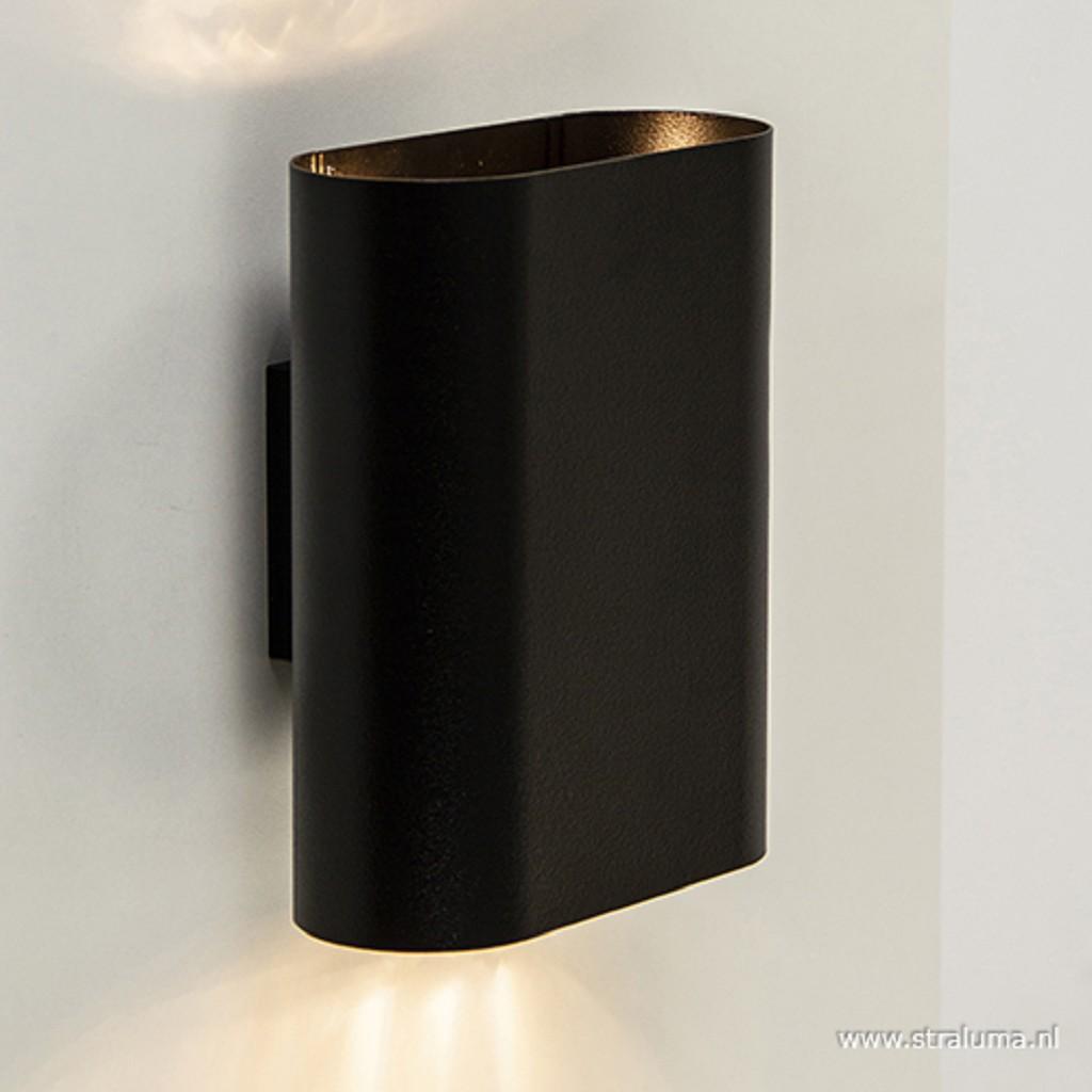 Wandlamp ovaal zwart 2xe14