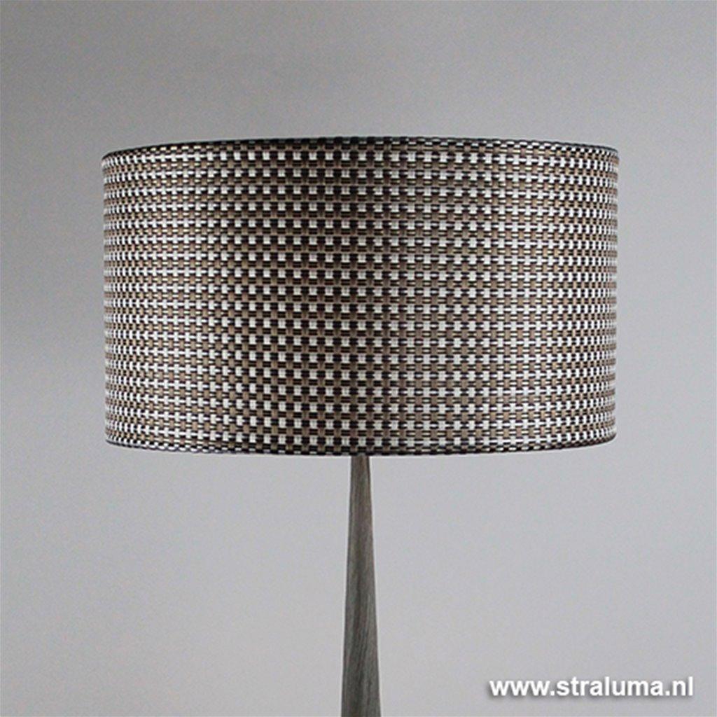 Vloerlamp Conos hout grijs + kap
