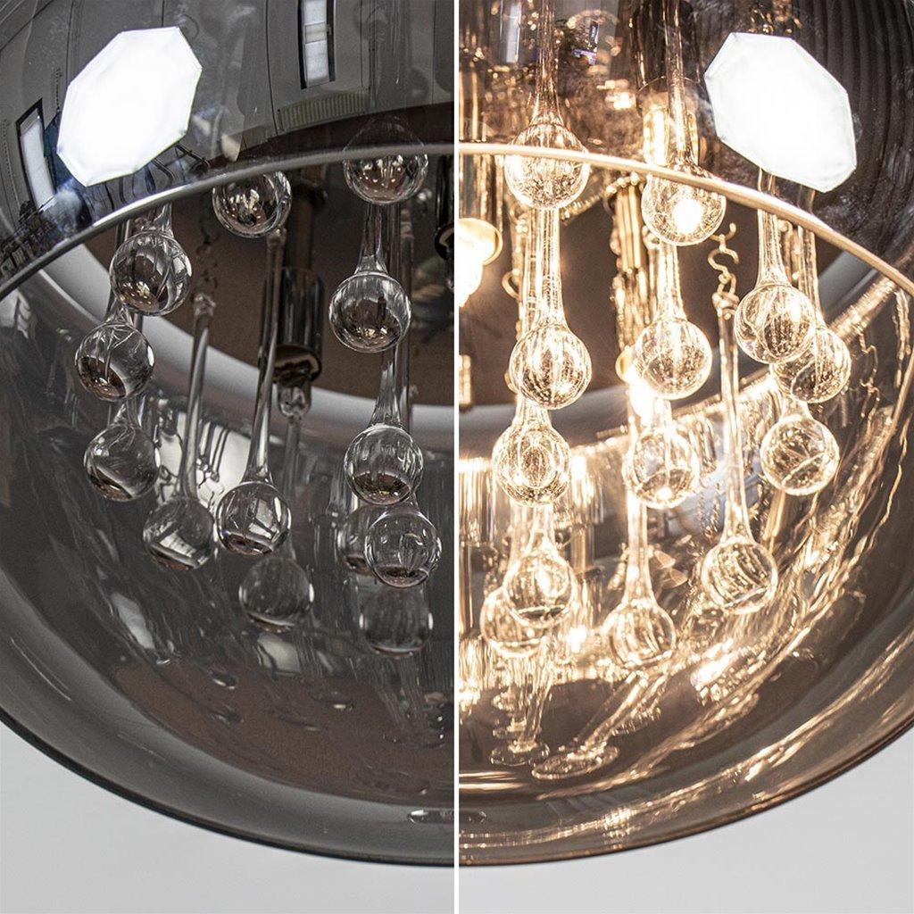 Plafondlamp Pearl Raindrops smokey glas