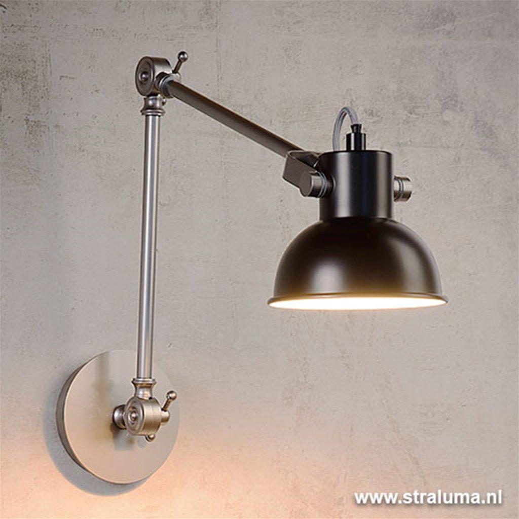 Verstelbare wandlamp Crunch zwart