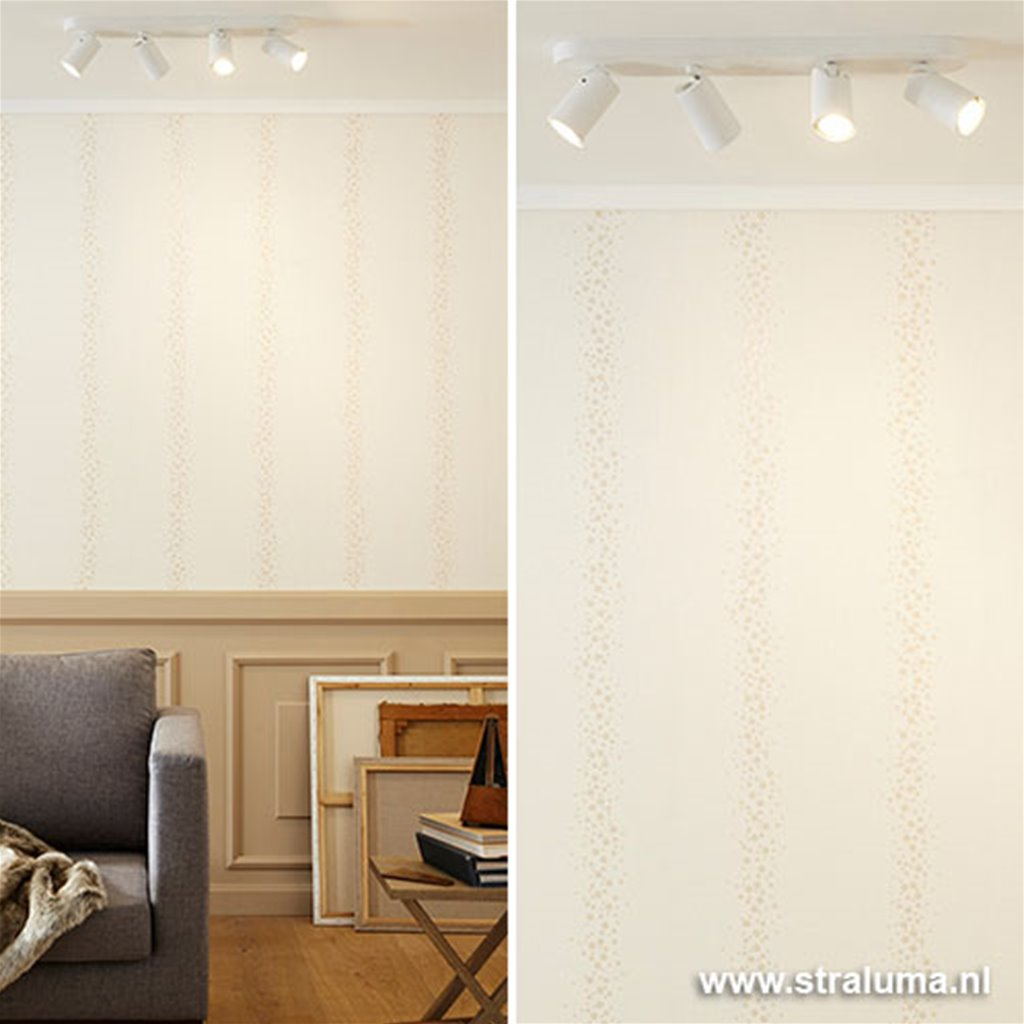 Opbouwspot 4-lichts balk wit incl. led