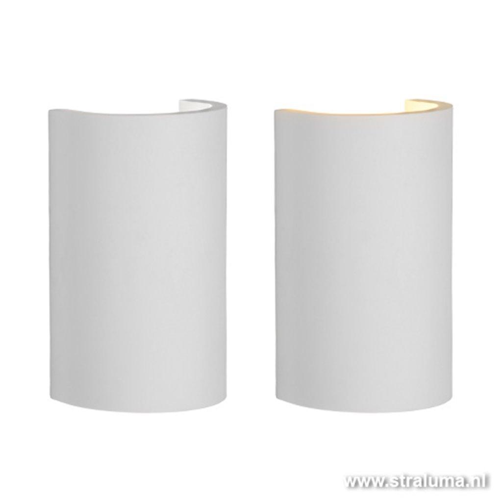 Design wandlamp wit halve koker
