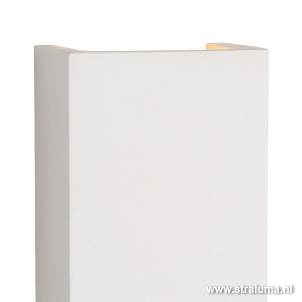 Wandlamp gips wit rechthoek g9