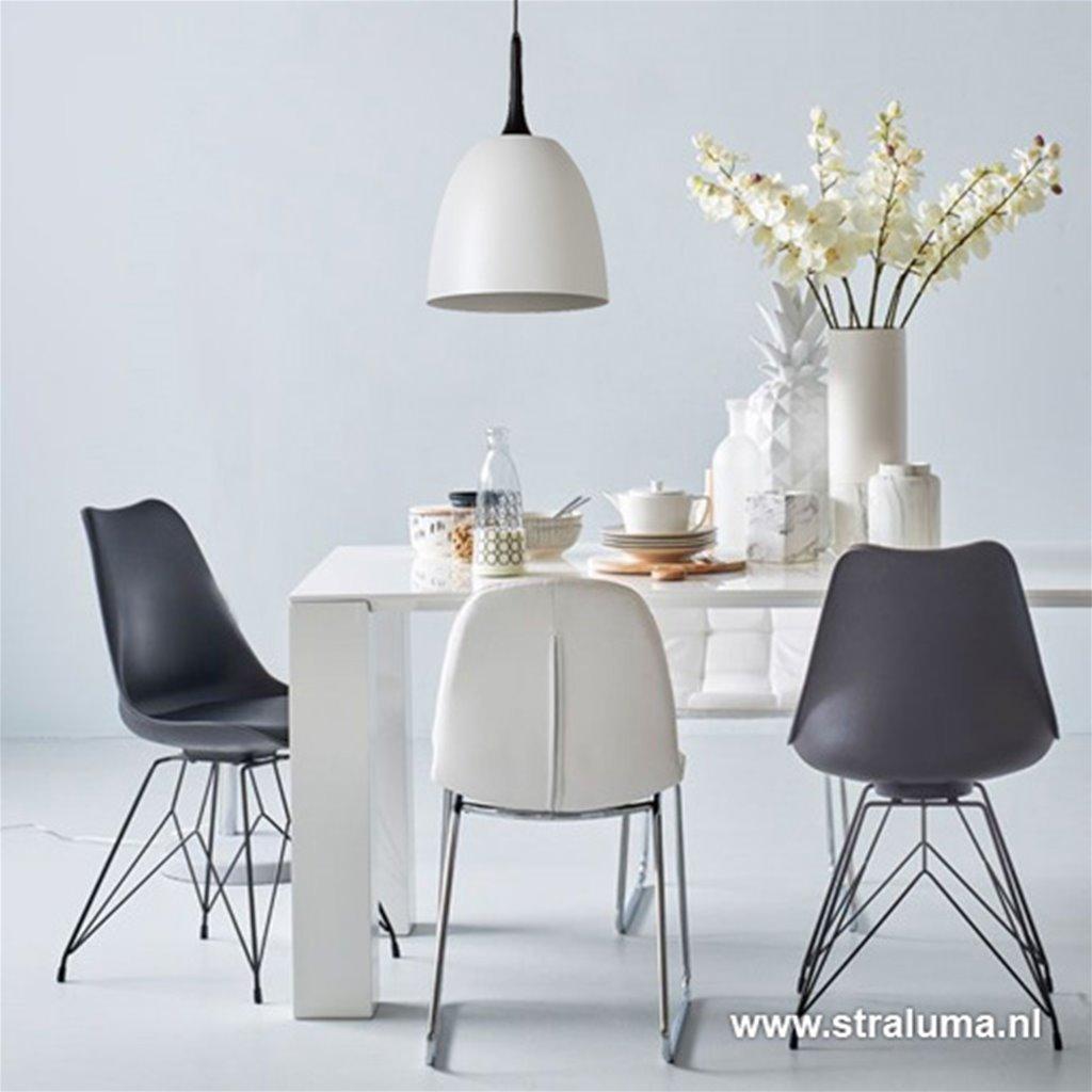 Wit met zwarte hanglamp koepel
