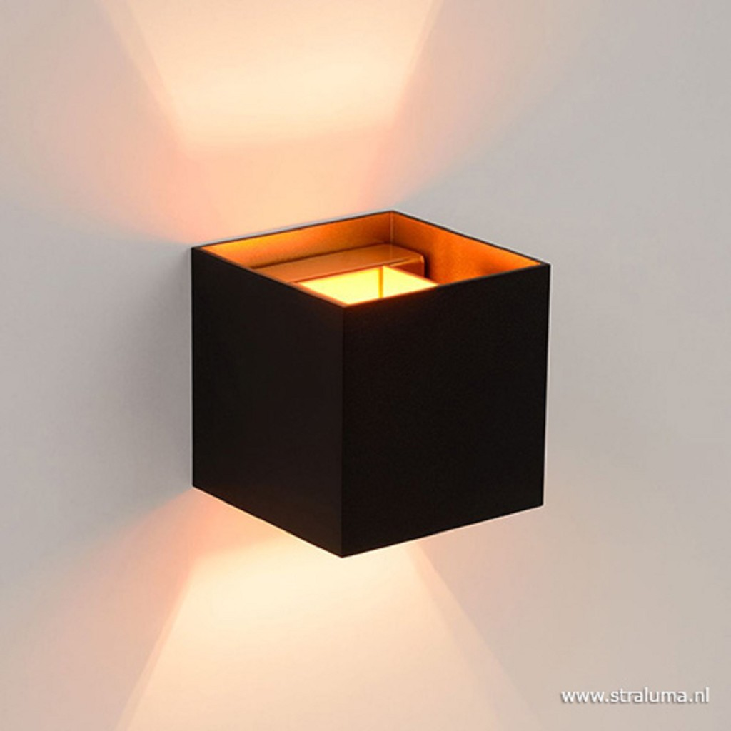 Wandlamp Xio kubus zwart/goud incl.g9