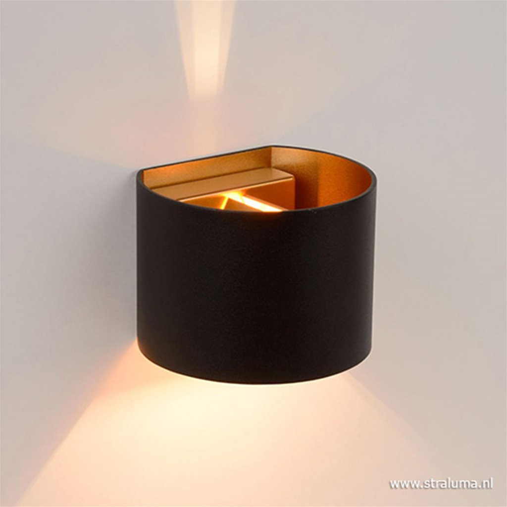Wandlamp zwart/goud Xio up+down incl.g9