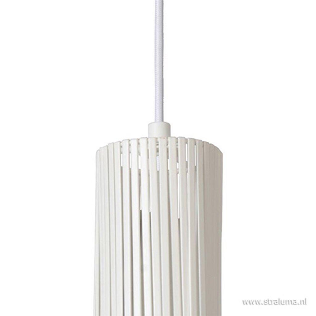 *Ronde hanglamp wit met platte strips