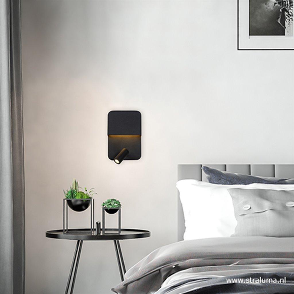 Verstelbare wandlamp LED zwart met spot