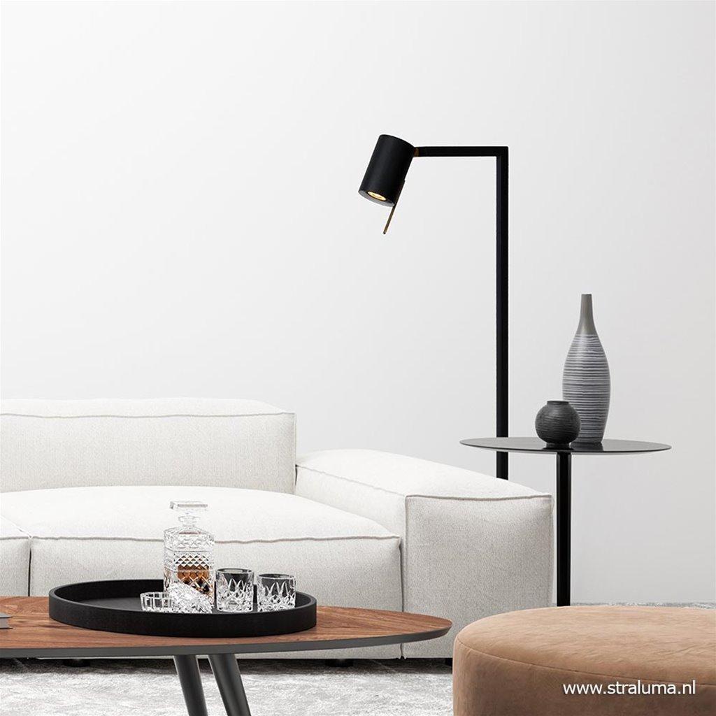 Moderne lees/vloerlamp mat zwart met brons