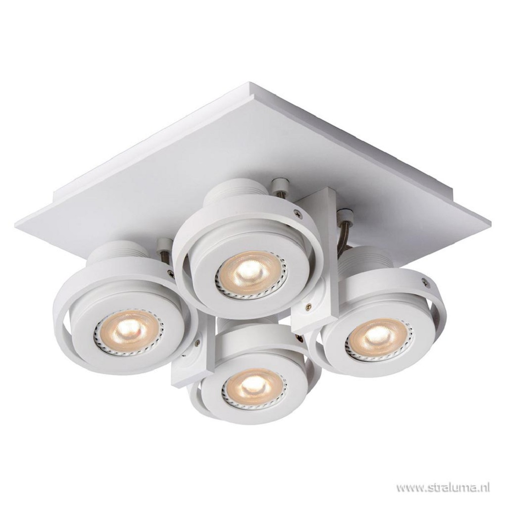 Vierkante 4-lichts opbouwspot wit incl. LED dim to warm