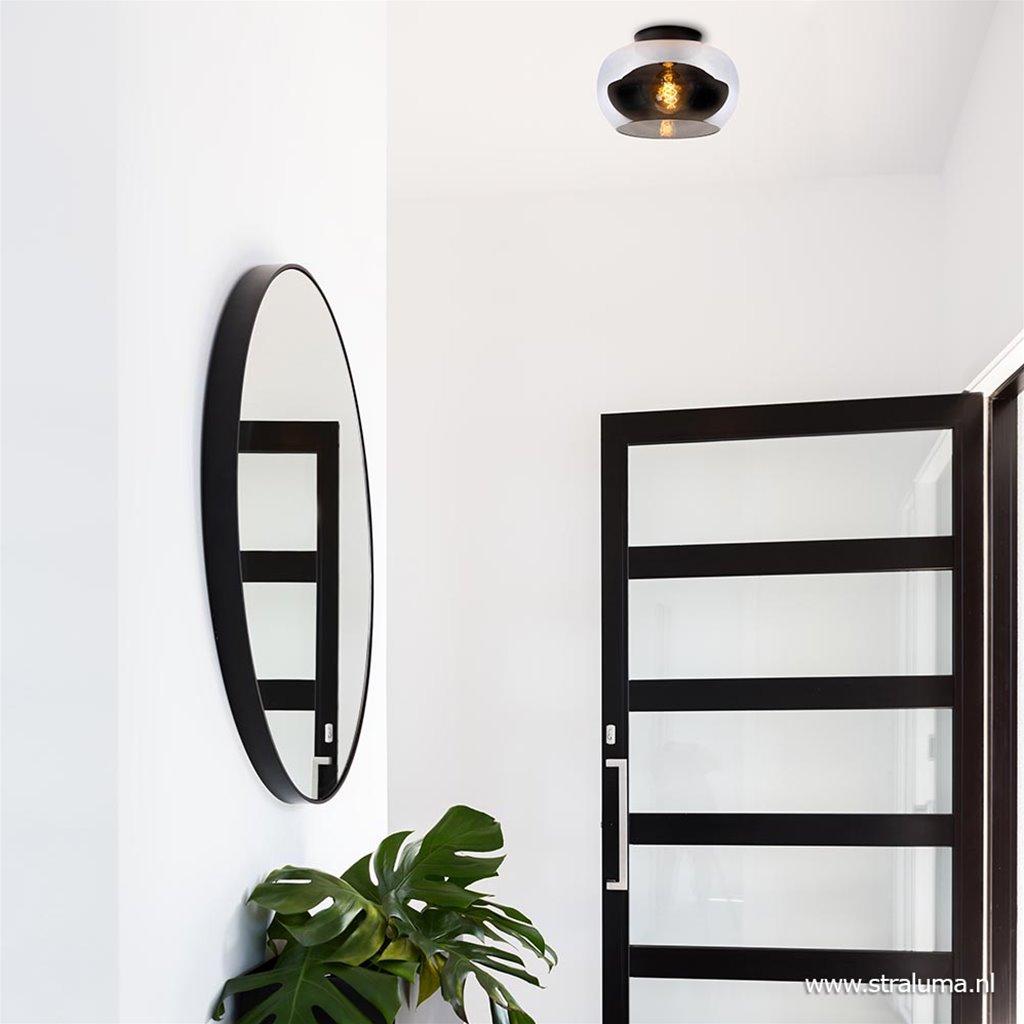 Plafondlamp zwart met smoke glas