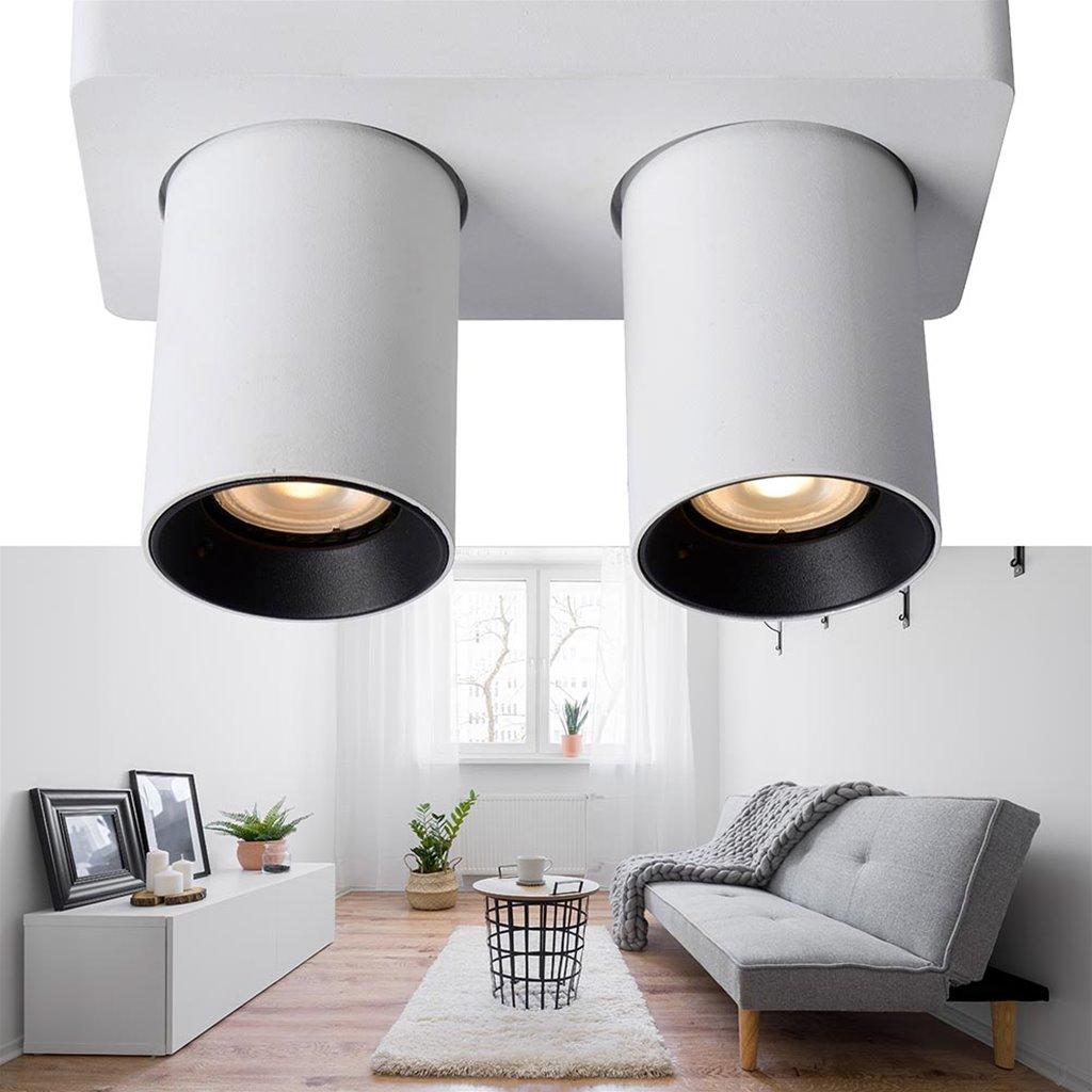 Aluminium 2-lichts opbouwspot wit met dimbaar LED