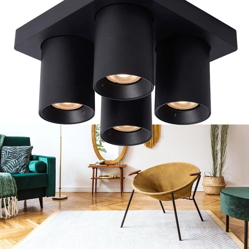 Plafondspot 4-L vierkant zwart dim-to-warm