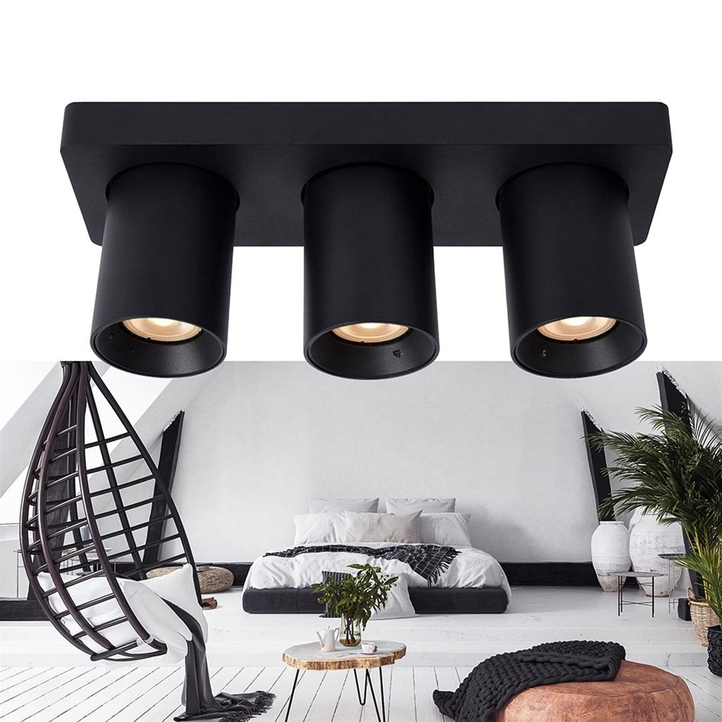 Plafondspot balk 3-L tube zwart dim-to-warm