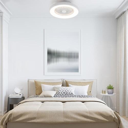 Plafondventilator wit met dimbaar LED en remote