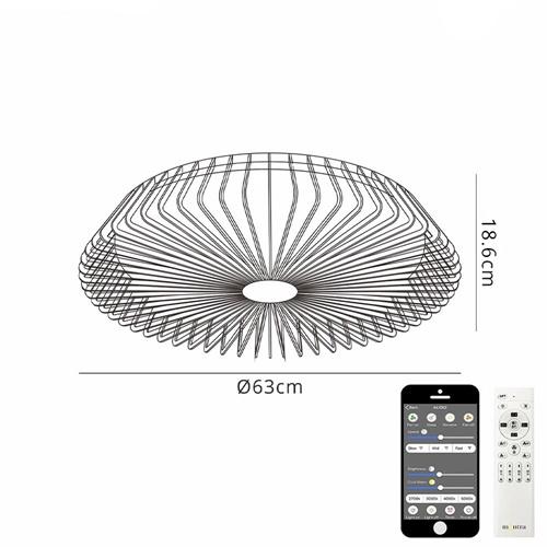 Zwarte plafondventilator met remote en Bluetooth bediening