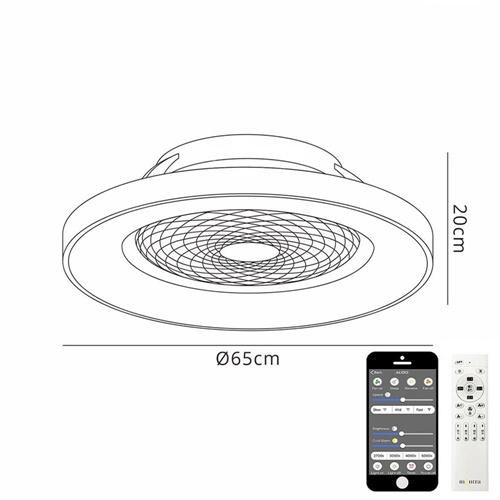 Design plafondventitalor wit met hout inclusief LED