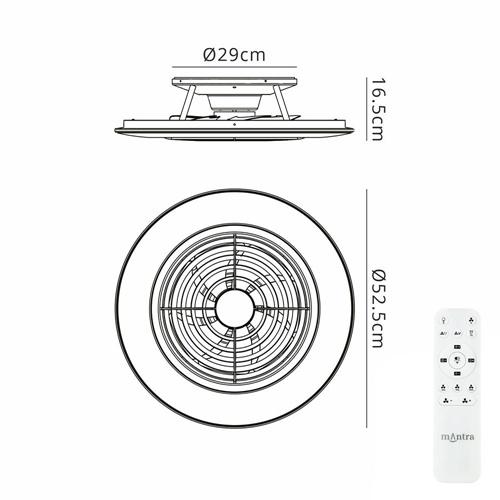 Zilveren ventilator inclusief LED klein