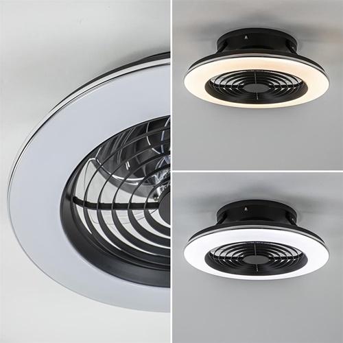 Kleine plafondventilator zwart inclusief LED verlichting