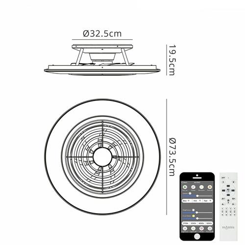 Grote ventilator wit inclusief LED en Bluetooth