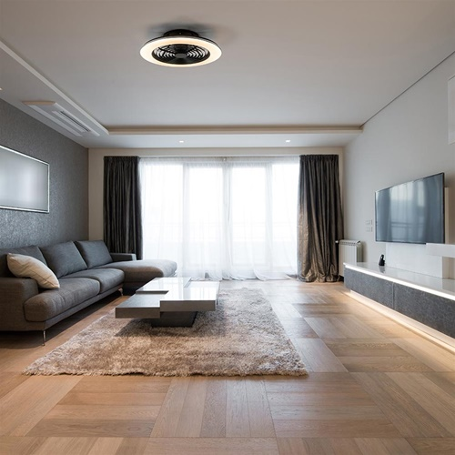 Plafondventilator zwart inclusief LED en Bluetooth 73 cm