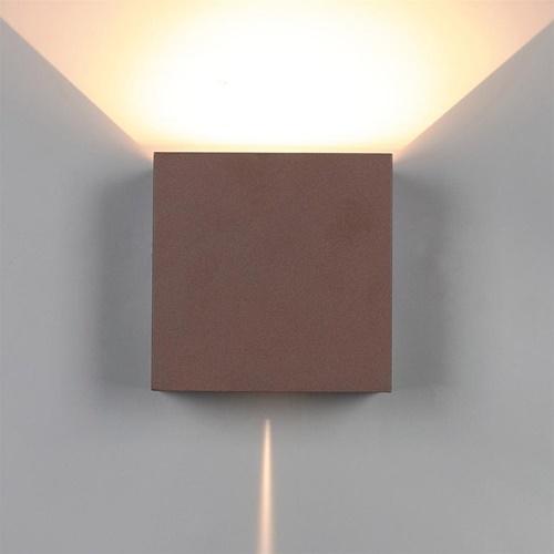 Buitenlamp wand bruin up+down IP54