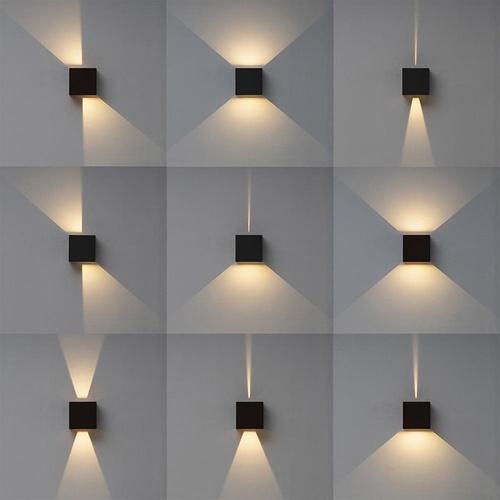 Zwarte LED buitenlamp vierkant IP65