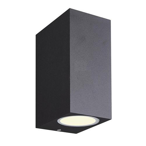 Buitenlamp rechthoek zwart up+down GU10 IP54