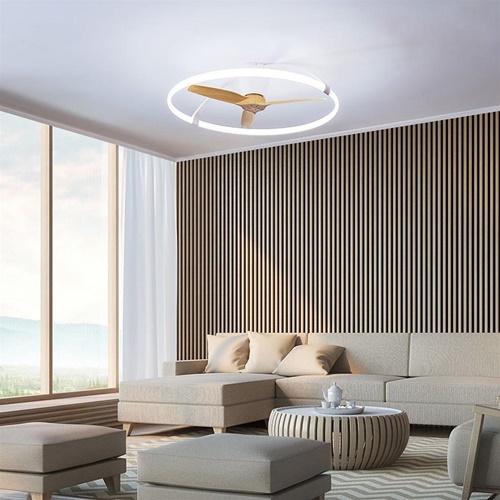Grote plafondventilator met LED verlichting wit hout