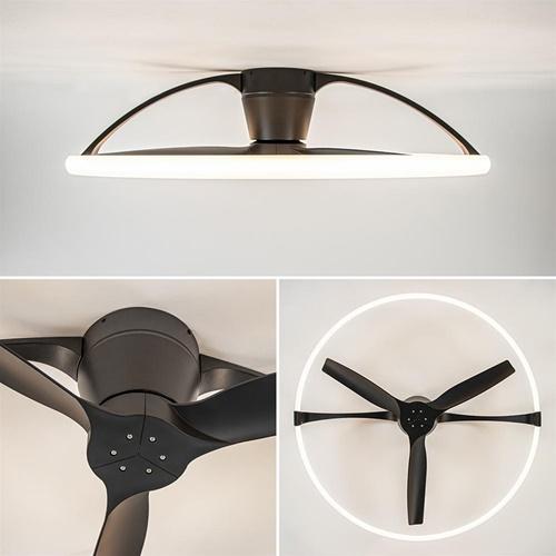 Ronde plafondventilator zwart inclusief LED en Bluetooth