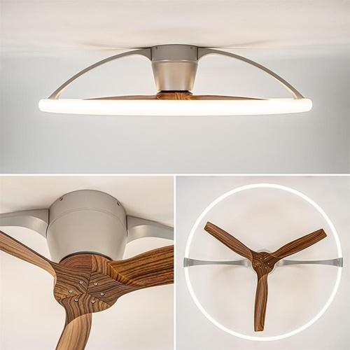 Moderne plafondventilator zilver met houtlook inclusief LED