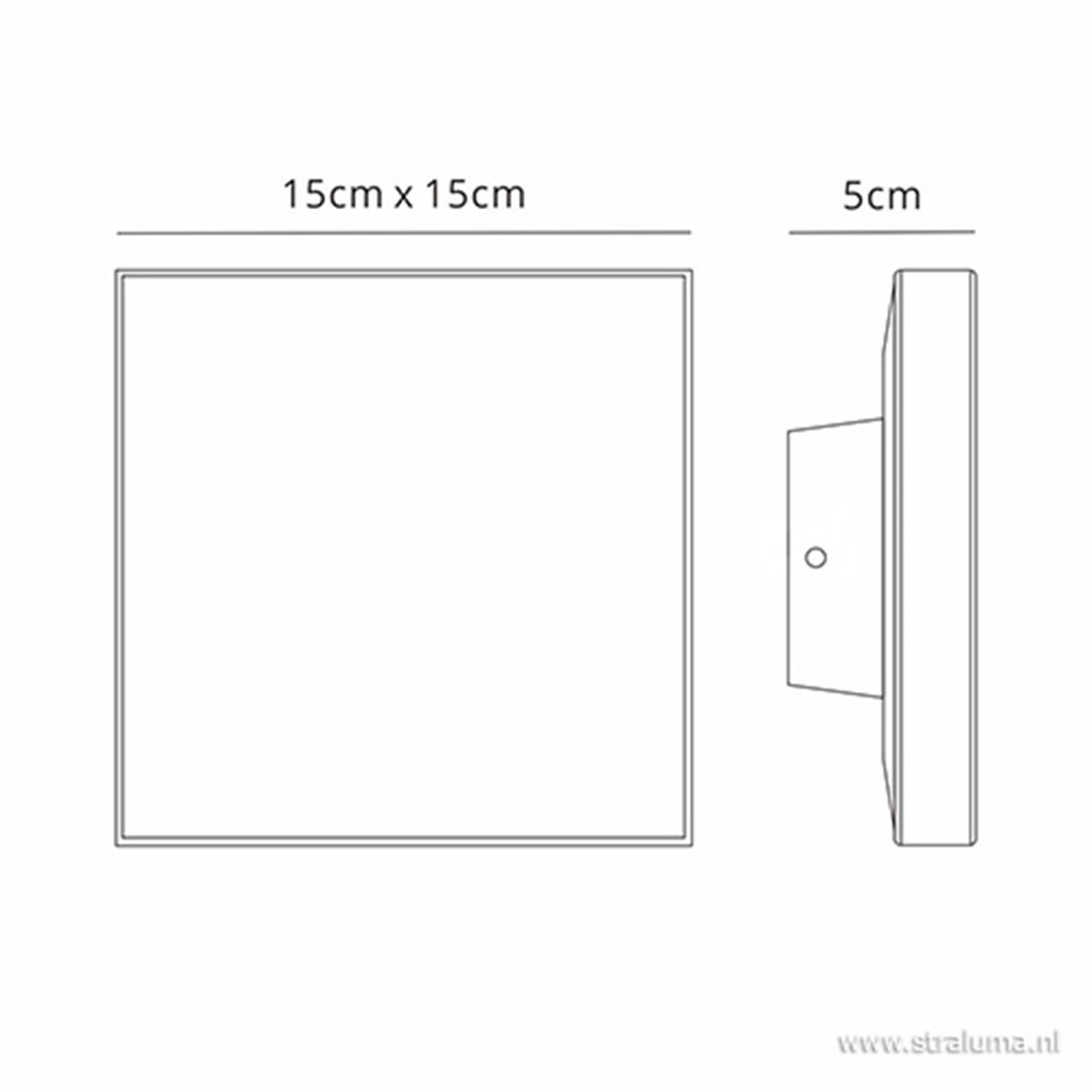 Plafond/wandlamp square antraciet IP54